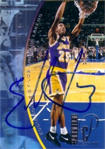 Eddie Jones autographed Los Angeles Lakers 1995-96 SP hologram card