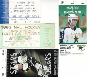 Edmonton Oilers lot of 4 vintage road game ticket stubs (Wayne Gretzky)