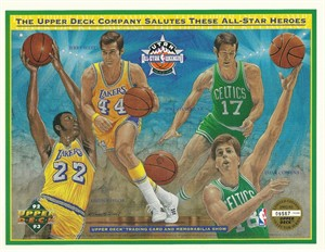 1993 NBA All-Star Heroes Upper Deck card sheet (Elgin Baylor Dave Cowens John Havlicek Jerry West)
