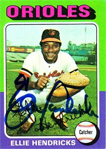 Ellie Hendricks autographed Baltimore Orioles 1972 Topps card