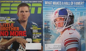 Eli Manning set of 2 different New York Giants ESPN Magazine issues