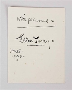Ellen Terry autographed 4x5 inch paper dated 1908 and inscribed With Pleasure