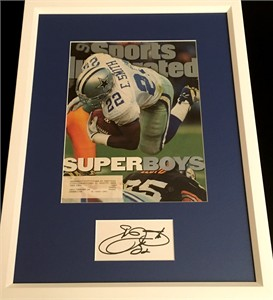 Emmitt Smith autograph matted & framed with Dallas Cowboys Super Bowl 30 Sports Illustrated cover