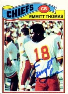 Emmitt Thomas autographed Kansas City Chiefs 1977 Topps card