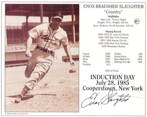 Enos Slaughter autographed 8x10 St. Louis Cardinals Hall of Fame photo card