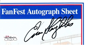 Enos Slaughter autographed Upper Deck card sheet cut signature JSA