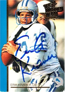 Erik Kramer autographed Detroit Lions 1992 Action Packed 1991 All-Madden Team card