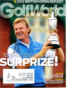 Ernie Els autographed 2012 British Open Golf World magazine