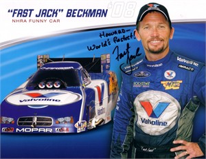 Fast Jack Beckman autographed 8x11 NHRA photo card (to Howard)