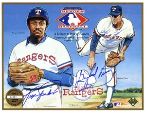 Fergie Jenkins & Gaylord Perry autographed Texas Rangers 1991 Upper Deck card sheet