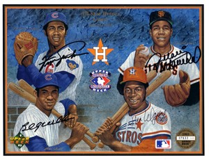 Fergie Jenkins Juan Marichal Billy Williams Jim Wynn autographed Houston Astros 1993 Upper Deck card sheet