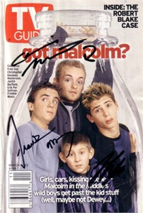 Frankie Muniz Justin Berfield Christopher Masterson autographed Malcolm in the Middle TV Guide