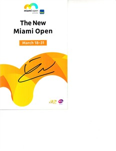 Franko Skugor autographed 2019 Miami Open tennis tournament map and program