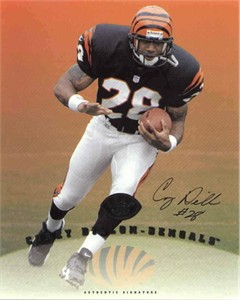 Corey Dillon certified autograph Cincinnati Bengals 1997 Leaf 8x10 photo card