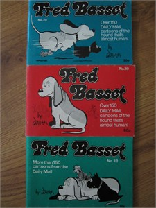 Fred Basset lot of 3 original early 1980s UK cartoon books
