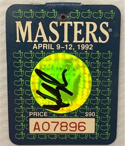 Fred Couples autographed 1992 Masters badge