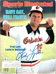 Fred Lynn autographed Baltimore Orioles 1985 Sports Illustrated (MLB authenticated)