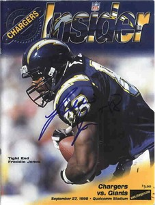 Freddie Jones autographed San Diego Chargers 1998 game program