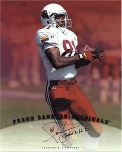 Frank Sanders certified autograph Cardinals 1997 Leaf 8x10 photo card