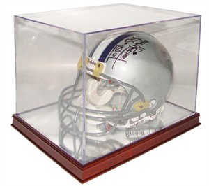 Full size football helmet display case with wood base