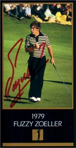 Fuzzy Zoeller autographed 1979 Masters Champion golf card