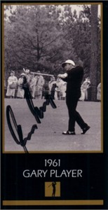 Gary Player autographed 1961 Masters Champion golf card