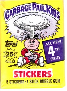 Garbage Pail Kids 4th Series unopened wax pack (5 sticker cards)