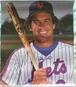 Gary Carter autographed New York Mets mini poster