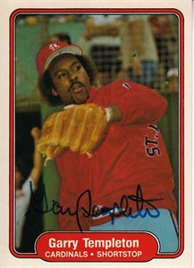 Garry Templeton autographed St. Louis Cardinals 1982 Fleer card