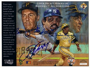 Steve Garvey Reggie Jackson Bill Mazeroski Willie Stargell Chuck Tanner autographed 1994 All-Star Upper Deck card sheet