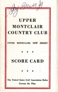 Gay Brewer autographed Upper Montclair Country Club 1960s golf scorecard