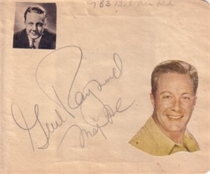 Gene Raymond autographed autograph album or book page