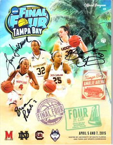 Geno Auriemma & Breanna Stewart autographed 2015 NCAA Women's Final Four program