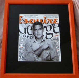 George Clooney autographed 2008 Esquire magazine cover matted & framed