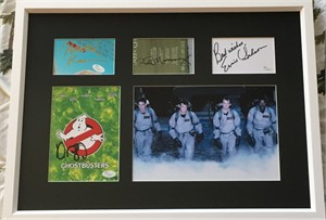 Dan Aykroyd Ernie Hudson Bill Murray Harold Ramis autographs framed with original Ghostbusters movie photo (JSA)