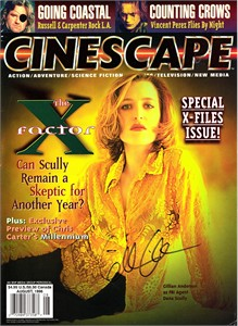 Gillian Anderson autographed X-Files 1996 Cinescape magazine cover