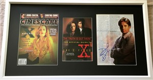 Gillian Anderson & David Duchovny autographed X-Files magazine photos matted & framed
