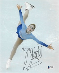 Gracie Gold autographed American flag 8x10 photo holding ice skates (BAS authenticated)