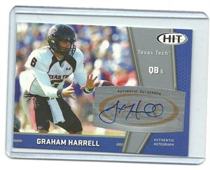 Graham Harrell certified autograph Texas Tech 2009 SAGE Hit card