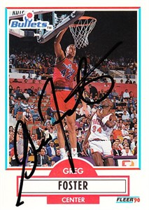 Greg Foster autographed Washington Bullets 1990-91 Fleer Update Rookie Card