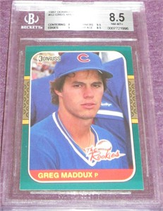 Greg Maddux Chicago Cubs 1987 Donruss Rookies BGS graded 8.5