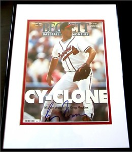 Greg Maddux autographed Atlanta Braves Beckett Baseball magazine cover matted & framed
