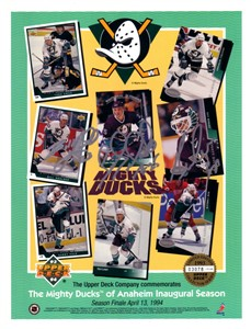 Guy Hebert Bill Houlder Terry Yake autographed Anaheim Mighty Ducks 1993-94 Upper Deck card sheet