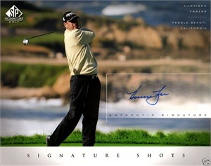 Harrison Frazar certified autograph 2004 SP Signature Golf 8x10 photo card