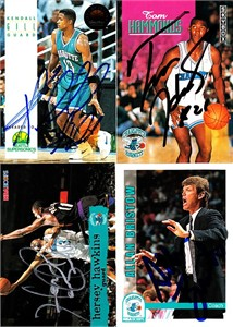 Hersey Hawkins autographed Charlotte Hornets 1995-96 Hoops card