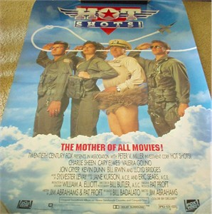 Hot Shots full size 27x40 inch original movie poster (Charlie Sheen Cary Elwes Lloyd Bridges)