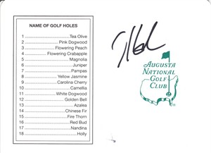 Hunter Mahan autographed Augusta National Masters golf scorecard