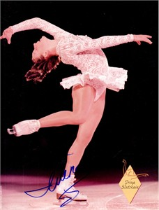 Irina Slutskaya autographed full page magazine figure skating photo