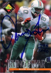 Irving Fryar certified autograph Miami Dolphins 1994 Pro Line card
