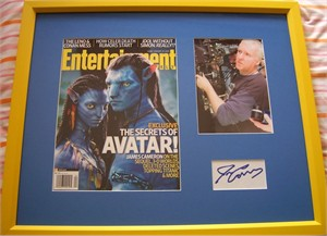 James Cameron autograph framed with Avatar magazine cover & photo